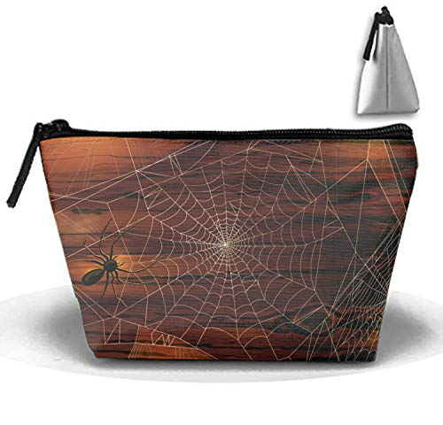 Cosmetic Bags Spider Webs Halloween Makeup Bag with Brush Pouch Portable Zipper Trapezoidal Strorege Bag for Girl and Woman Necessary]()