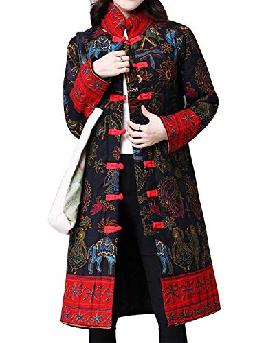 IDEALSANXUN Women's Cotton Linen Vintage Floral Print Lightweight Trench Coat Long Button Down Jacket Robe (Large/US 12, 2 Black(Oracle))