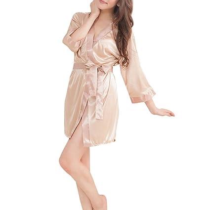 JAGENIE Women s Short Kimono Style V-Neck Bathrobe Plain Dressing Gown  Bridal Party Robe Skin-Color  Amazon.ca  Home   Kitchen f5131b70d2f0