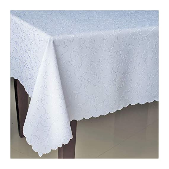 "Stain Resistant Turkish White Tablecloth Polyester Table Cover - Rectangular Square Round Washes Easily Non Iron - Thanksgiving Christmas Dinner Wedding New Year Eve Gift (White, Square 70""x70"") - IMPORTANT NOTICE: Dear Customers! This Tablecloth has WHITE color. We have also the same fabric and pattern but IVORY, BLUE, RED, BLACK color, please enter ""AHOLTA"" in the Amazon search string to find it. Turkish Quality. The Turkish dining table tablecloths from AHOLTA DESIGN are made in Turkey from a high-quality material. This polyester is spot-proof, easy to wash and doesn't need ironing (please check reviews of listing). The round, square, and rectangle tablecloths are machine washable. Choose a suitable SIZE AND FORM. The polyester Turkish sparkling tablecloths can be bought in 12 variants. Round - 50"", 60"", 70'', 84"", square - 40""x40"" (topper), 52""х52"", 60""x60"", 70""x70"", and rectangular - 52""х70"", 60""х84"", 60""х104"", 60""х120"" and 60""х140"". You'll be able to choose a luxurious and ideal tablecloth for your dining table. Spill-proof. DECORATE your table with snowflake tablecloth. Holiday table linen for Thanksgiving, Christmas, weddings, or any family party or occasion. A really festive table is impossible without an elegant tablecloth. The tablecloth is heavy-duty and made for regular use. - tablecloths, kitchen-dining-room-table-linens, kitchen-dining-room - 51hpdx27QJL. SS570  -"