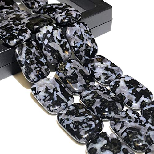 [ABCgems] Rare Madagascan Black Tourmaline in Feldspar (Exquisite Color & Beautiful Matrix) 18X25mm Smooth Rectangle Beads for Beading & Jewelry Making
