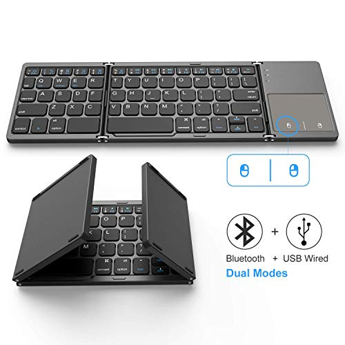 Foldable Bluetooth Keyboard, Jelly Comb Dual Mode Bluetooth & USB Wired Rechargable Portable Mini BT Wireless Keyboard with Touchpad Mouse for Android, Windows, PC, Tablet-Dark Gray (Android Portable Keyboard)