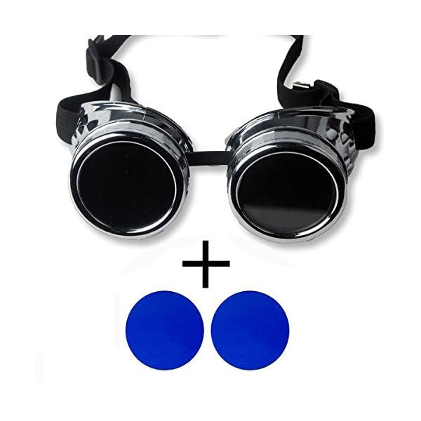 New Sell Vintage Steampunk Goggles Glasses Welding Cyber Punk Gothic - Silver Frame with 2 Lens 3