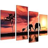 Wallfillers Canvas 4102 Toiles XL Paysage africain avec éléphants