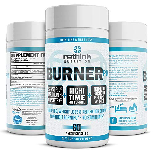 Rethink Nutrition Burner Nighttime PM, No Caffeine, Exercise Program Aid For Fat Burner and Weight Loss Pills, Ashwagandha Extract, Melatonin for Night Use, Rest for Women and Men, Capsiatra, Sensoril