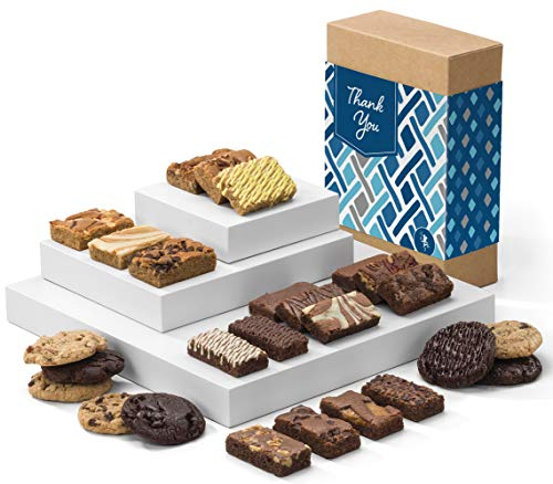 - Fairytale Brownies Thank You Deluxe Bar, Sprite & Cookie Combo Gourmet Chocolate Food Gift Basket - 3 Inch x 1.5 Inch Snack-Size Brownies Plus Blondie Bars and Cookies - 26 Pieces - Item CY363
