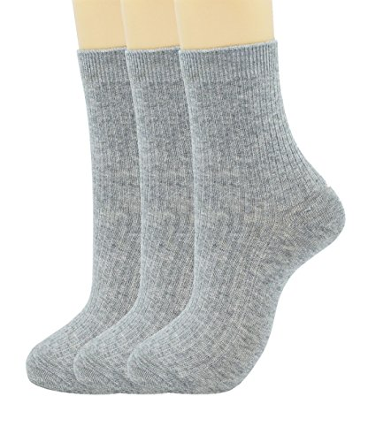 Woman double needle delicate cotton socks (3-pairs-Light gray) from SRYL