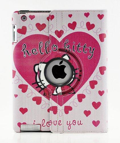 Hello Kitty Design 360 Degree Rotating PU Leather Hard Case for Apple iPad 4 3 2, Mini 1 2 3 and iPad Air (iPad Mini 1 2 3, Color 1)