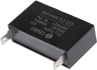 Black 12uF Generator Capacitor Generator CBB61 12uF 50//60Hz 350VAC Fan Motor