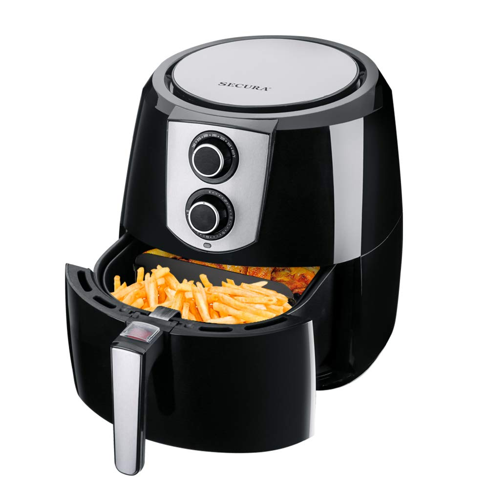 Secura Air Fryer 1800W Electric Hot Air Fryers Nonstick Cooker for Healthy Oil-free Low Fat Cooking with Automatic Timer and Temperature Control, Extra Large Capacity 5.2L/5.5QT, Bonus Food Divider by Secura