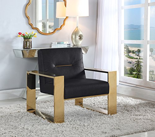 Iconic Home Nicholas Modern Contemporary Sculptural Polished Brass - Finished Stainless Steel Leatherette Accent Chair, Black