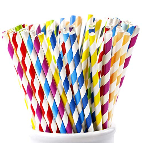 Webake Paper Straws Biodegradable Bulk 175 Pack Rainbow Striped Drinking Straws Plastic Alternative Eco Friendly Straw for Party, Cake Pop Sticks (Assorted Colors) -
