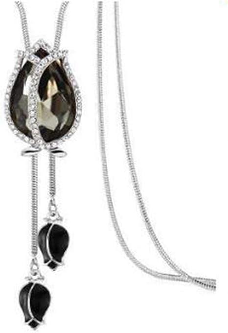Collar de Diamantes de Imitación de Mujer Suéter Largo Cadena Colgante Flor Joyería Regalo 6A