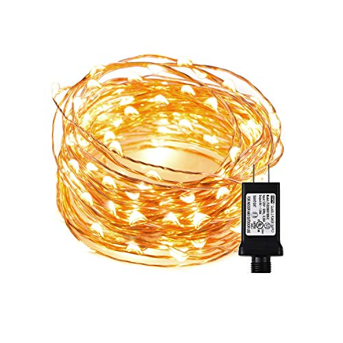 Chalpr LED String Lights, 33ft/10M 100 LEDs Starry Fairy Warm White Lights Indoor and Outdoor Waterproof Copper Wire Decorative Fairy Lights for Bedroom,Garden,Patio,Parties,Wedding Valentine's Day (Wedding Patio Village)