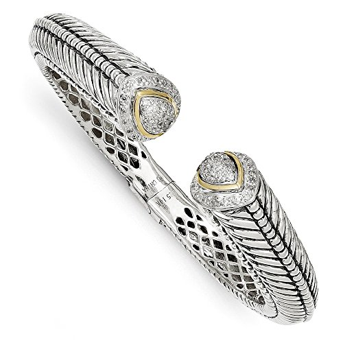 Sterling Silver Hinged Polished Prong set Antique finish With 14k Diamond Bangle