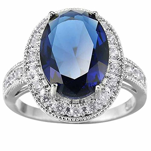 XAHH Women White Gold Plated Oval Cut Sapphire Blue CZ Solitaire Ring Bridal Engagement Wedding Band Size 6 (Charm Solitaire Ring)