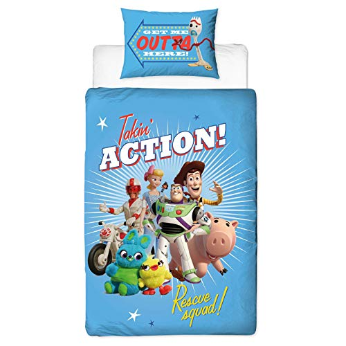 Character World Official Toy Story 4 Single Duvet Cover Rescue Design | Reversible Two Sided Bedding Duvet Cover Featuring Woody & Buzz Lightyear with Matching Pillow Case