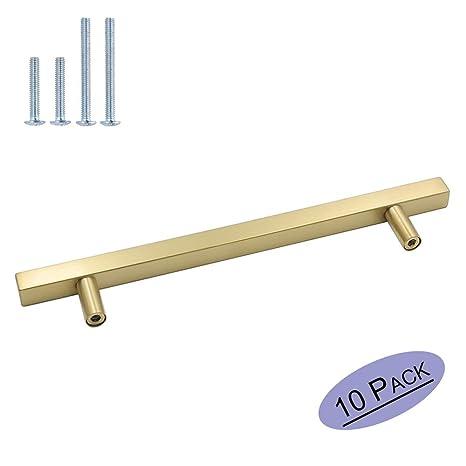10 pieza Muebles acero inoxidable tubo cuadrado oro Puerta Fahrradgriffe LS12 12gd latón Armario Tirador cajón Tirador para Incluye Tornillo