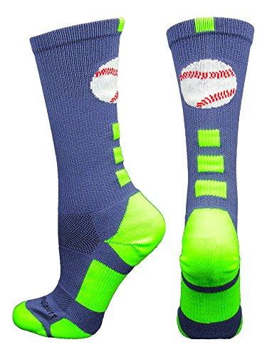 Baseball Logo Crew Socks (Navy/Neon Green, - Blue Neon Navy