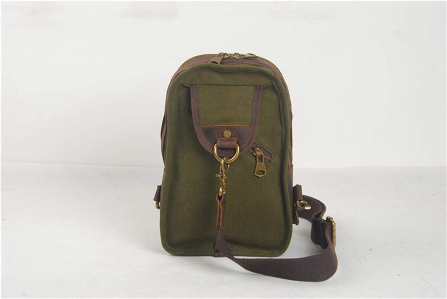 Color : ArmyGreen RABILTY Simple Retro Zipper Waterproof Canvas Chest Bag Shoulder Bag Messenger Bag Color ArmyGreen