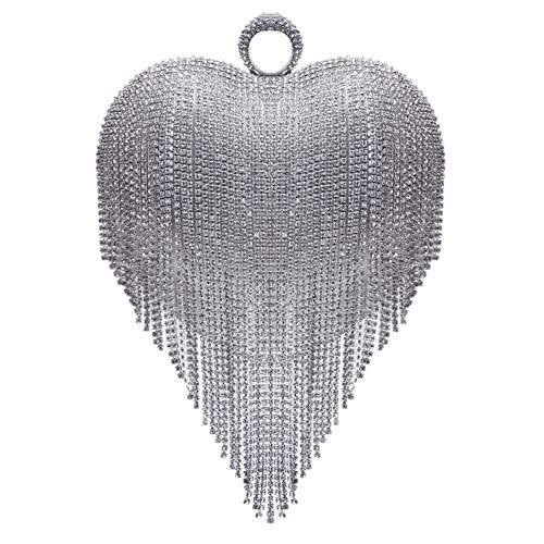 Silver Handbag Clutch For Purse Diamonds Chain Dress Wedding Bags Womens Evening pqw6SxOS