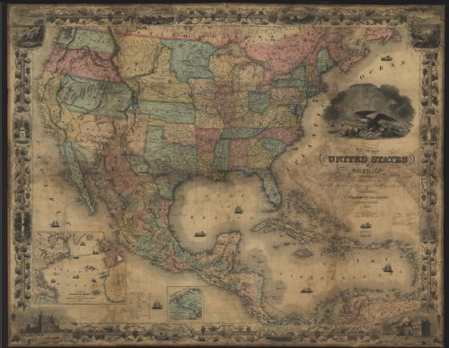 Map of the United States of America, The British Provinces, Mexico, The West Indies and Central...