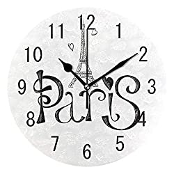 ALAZA Home Decor White and Black Paris Eiffel Tower France Round Acrylic 9 Inch Wall Clock Non Ticking Silent Clock Art for Living Room Kitchen Bedroom