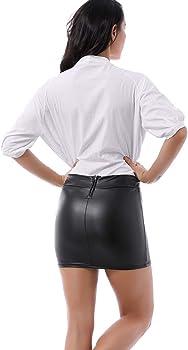 Falda de mujer de aspecto de piel – Sexy Wetlook Stretch Rock ...