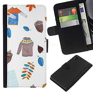 iBinBang / Flip Funda de Cuero Case Cover - Dejadores suéter blanco Acorn - Sony Xperia Z2 D6502 D6503 D6543 L50t