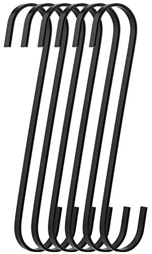 RuiLing 6-Pack 9 Inch Black Chrome Finish Steel Hanging Flat Hooks - S Shaped Hook Heavy-Duty S Hooks, for Kitchenware, Pots, Utensils, Plants, Towels, Gardening Tools, Clothes by RuiLing