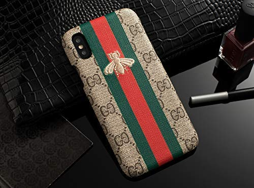 RYANA Desgin -US Fast Deliver - Luxury Elegant PU Leather Monogram Classic Style Case Cover for Apple iPhone (Stripe Small BEE) (iPhone ()