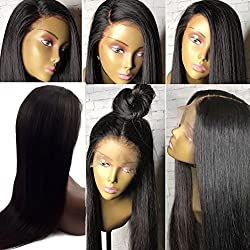 Trebellar Silky Straight 360 Human Hair Wigs Pre Plucked Virgin Brazilian Hair 360 Lace Frontal Wigs Straight with Baby Hair Bleached knots Glueless 360 Wigs Natural Color 180% Density 18Inch