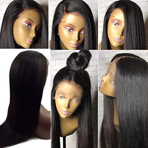 Trebellar Silky Straight 360 Human Hair Wigs Pre Plucked Virgin Brazilian Hair 360 Lace Frontal Wigs Straight with Baby Hair Bleached knots Glueless 360 Wigs Natural Color 180% Density - Side Front 180