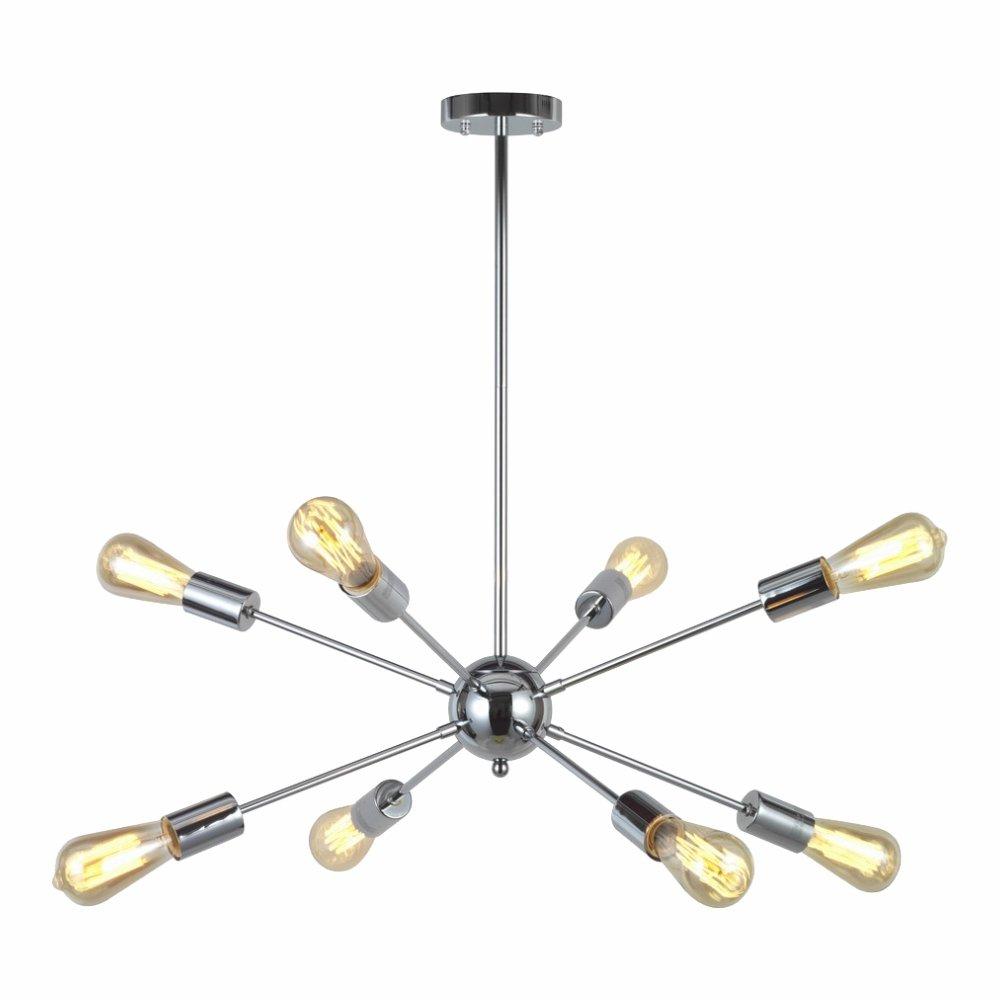 VINLUZ 8-Light Sputnik Chandelier Chrome Ceiling