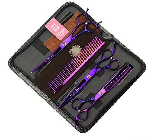 LILYS PET Professional PET Grooming scissors Kit,Coated Titanium,Sharp and Strong Stainless Steel Blade for Dogs Cats Hair Cutting,3 Pieces of Scissors with a Comb and a Case (8.0 inches, Purple)