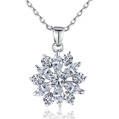 BAMOER 18K White Gold Plated Cubic Zirconia Snowflake Pendant Necklace for Women Girls CZ Jewelry Fashion Necklaces 3 Style White Gold & White (Snowflake Necklace)