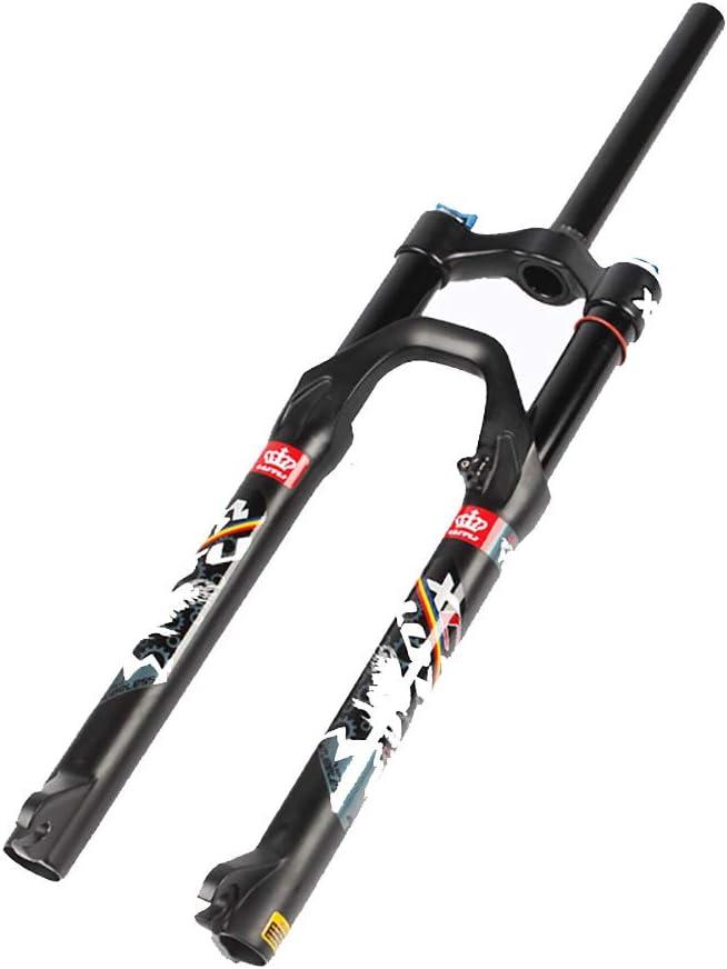 TESITE Ultraleicht Fahrradgabel//MTB Fahrrad Federgabel//Gerades Rohr Schultersteuerung//Drahtsteuerung Lockout Federweg 120mm (Schwarz und Grau)