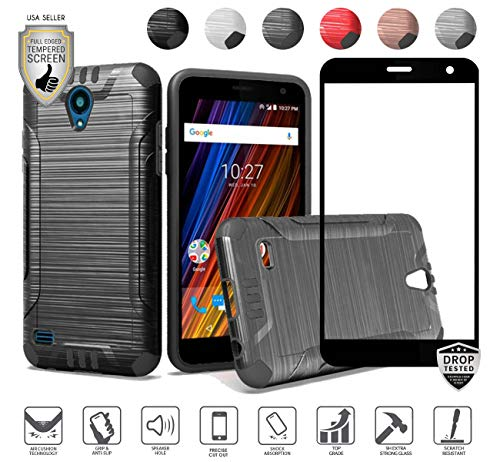 Compatible for Cricket Wave Case, Freetel Wave Case, with [Full Tempered Glass Protector], Tough Armor Premium Dual Layer Metallic Brushed Design Hybrid [Shock Proof] Cover Case (Black)