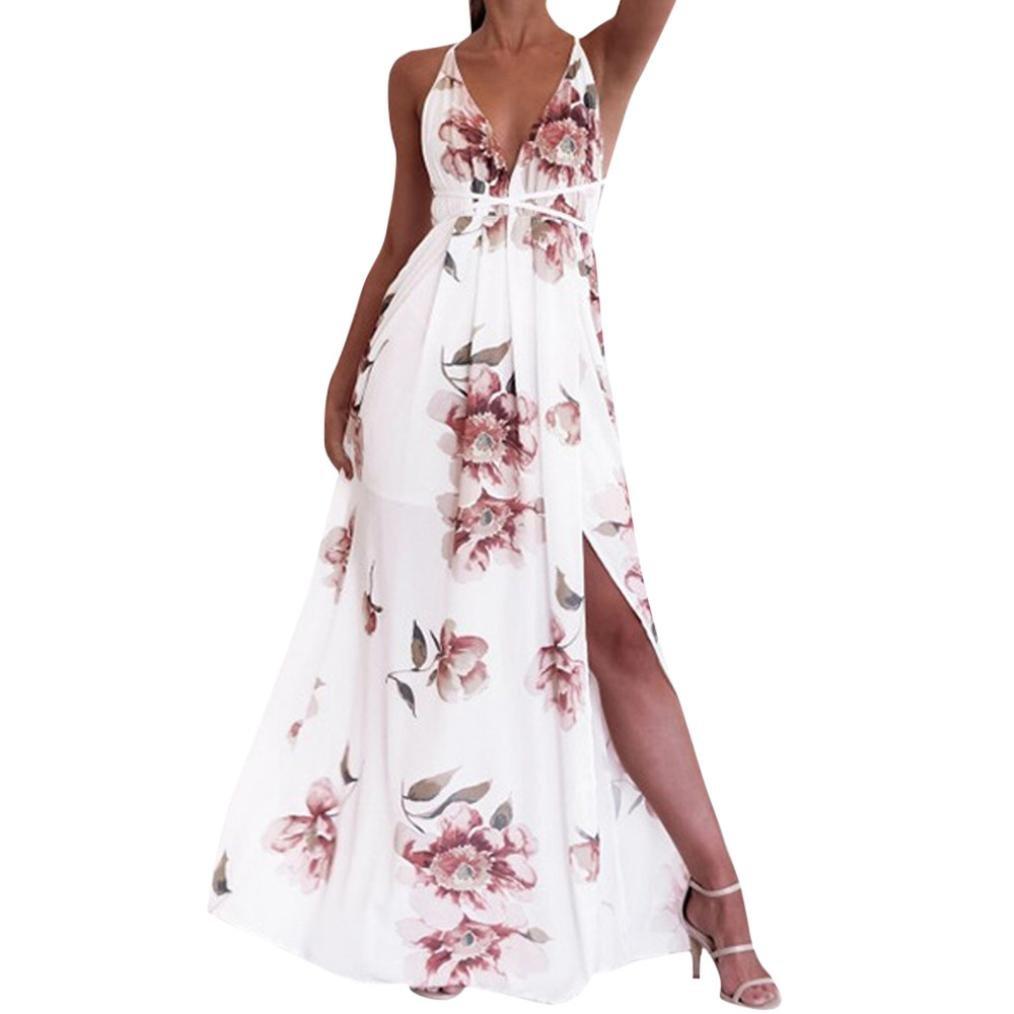 TiTCool New Women's Sexy Deep V Neck Backless Floral Print Split Maxi Party Dress (L, White)