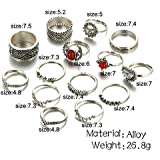 14Pcsset Vintage Boho Antique Silver Moon Sun Turquoise Midi Finger Rings Walking Street