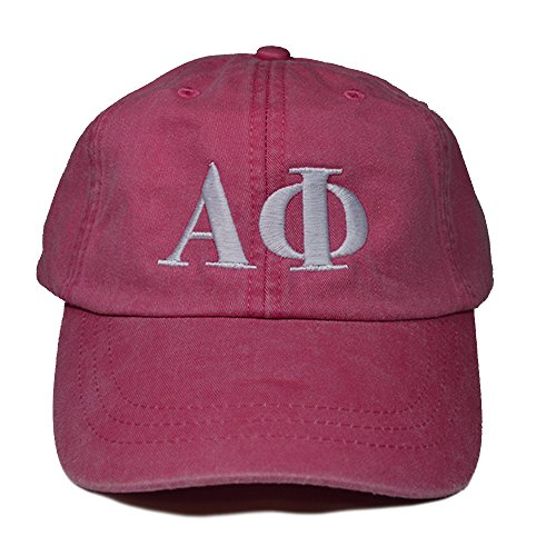 Alpha Phi (L) Hot Pink with White Thread Sorority Baseball Hat Cap Greek Letter Sports Cap Adjustable Strap A - Lauren Return Policy Ralph