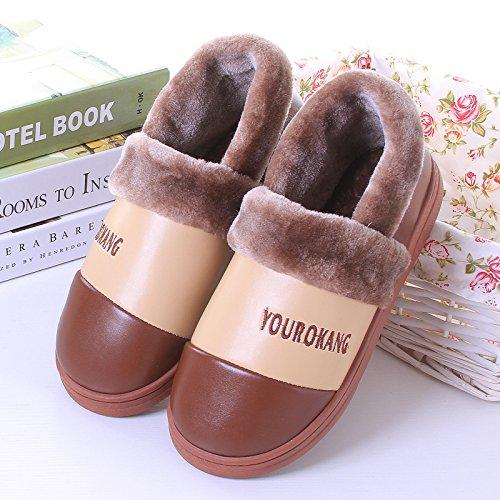Y-Hui en el invierno los hombres zapatillas de algodón con todos los calzados femeninos Home Furnishing Pu resistente al agua caliente pareja inferior grueso zapatos,36-37 metros,Café