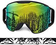 Extra Mile Ski Goggles, OTG Over Glasses Snow Sports Goggles Snowboard Snowmobile Skate Motorcycle Riding, Dus