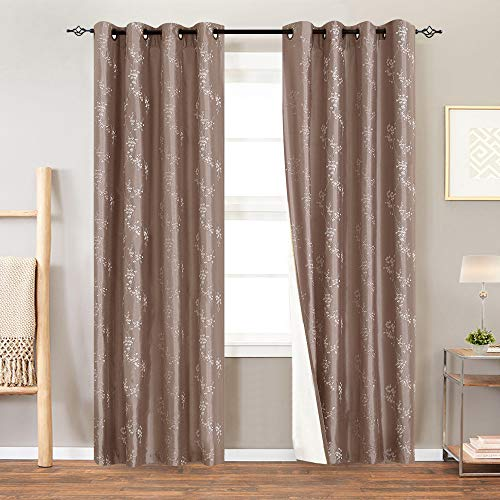 Lined Luxury Faux Silk Floral Embroidered Grommet Top Curtains for Bedroom Embroidery Curtain for Living Room 84 inches Long, 1 Pair, Taupe