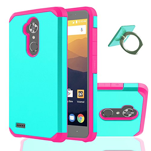 ZTE MAX XL Case,ZTE Blade Max 3 Case,ZTE Bolton Case (4G LTE) With Phone Stand,Ymhxcy [Shock Absorption] Hybrid Dual Layer Armor Defender Protective Case Cover for ZTE N9560/ZTE Z986U-ZK Pink+Mint