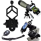 PEYOU Telescope Phone Mount Adapter w/ Bluetooth Remote, Universal Cell Phone Adapter Mount