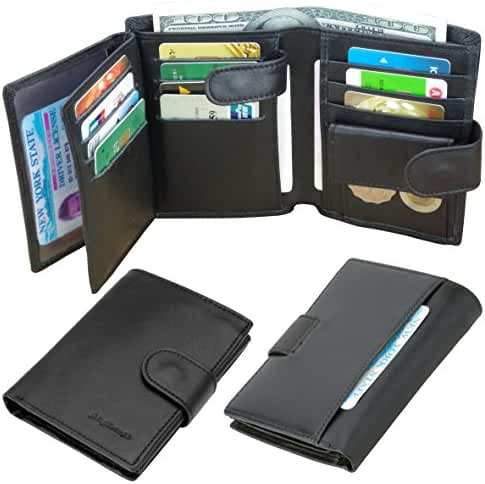 Admetus Men Soft Genuine Leather Card Holder Coin Purse Trifold Wallet gifts Box