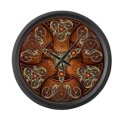 CafePress - Celtic Shields - Copper Chieftain - Large 17 Round Wall Clock, Unique Decorative Clock