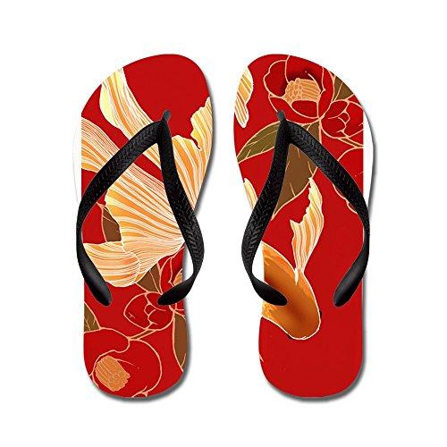 CafePress Kimono Tradisional Design Goldfish - Flip Flops, Funny Thong Sandals, Beach Sandals Black