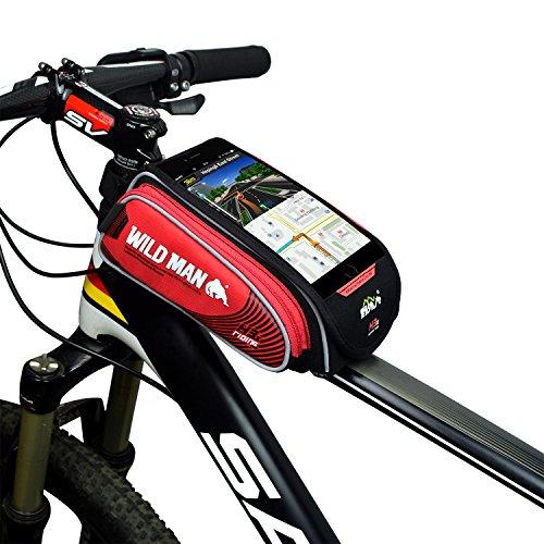 WILDMAN Bike Bicycle Handlebar Frame Pannier Front Top Tube Bag Pack Rack X Large Waterproof for Iphone 6 6 Plus Samsung Mobile Phone Screen Touch Holder (red) (Audio H3 Waterproof Headphones)